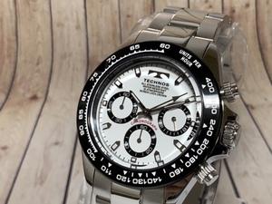 【即決 送料無料 セーム付き】新品 テクノス TECHNOS 腕時計 アナログクロノグラフ ステンレスベルト クオーツ ホワイト ブラック シルバー