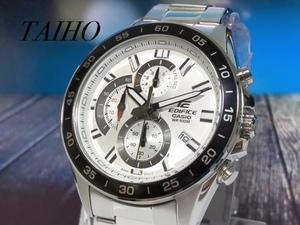 1円 新品 Casio カシオ EDIFICE エディフィス 腕時計 クオーツ アナログ クロノグラフ ステンレス 10気圧防水 ホワイト ブラック シルバー