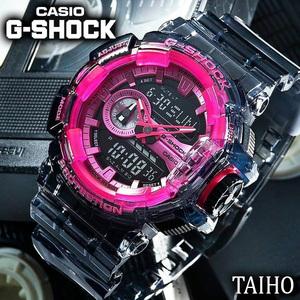 新品 カシオ Casio ジーショック G-SHOCK 腕時計 クリア スケルトン クオーツ 樹脂ベルト 20気圧防水 ストップウオッチ カレンダー ピンク
