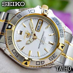新品 SEIKO セイコー 正規品 SEIKO5 SPORTS セイコーファイブ 腕時計 カレンダー メンズ ステンレスベルト シルバー ゴールド 自動巻き