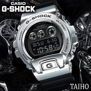 新品 カシオ Casio ジーショック G-SHOCK 腕時計 20気圧防水 デジタル クォーツ カレンダー ストップウォッチ メタルベゼル シルバー 黒