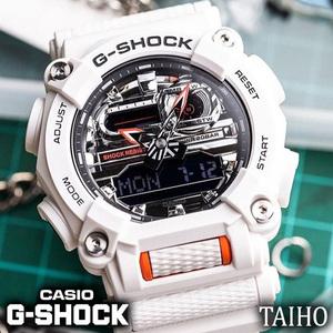 新品 カシオ Casio ジーショック G-SHOCK 腕時計 20気圧防水 ワールドタイム ストップウオッチ 樹脂バンド アナデジ メンズ ホワイト 白