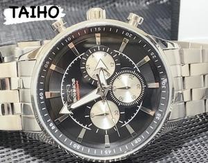 高級セームプレゼント♪新品 テクノス TECHNOS 正規品 腕時計 アナログ クロノグラフ ビジネスウォッチ ジャパンムーブ ブラック シルバー