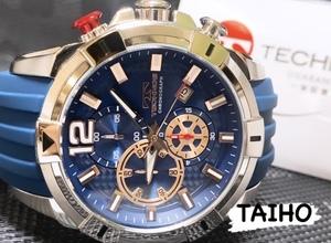 【即決 送料無料 セーム付き】★新作★ 新品 テクノス TECHNOS 正規品 腕時計 クロノグラフシリコンベルト10気圧防水日本製ムーブブルー