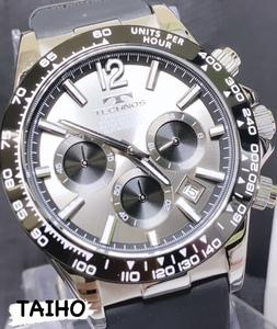 【即決 送料無料 セーム付き】新作新品テクノスTECHNOS正規品腕時計クロノグラフ ラバーベルト 10気圧防水 タキメーター ガンメタ 国内正規