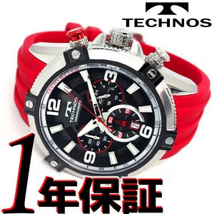 人気カラー1円新品正規品テクノスTECHNOSクロノグラフメンズ腕時計ウォッチ日本製クオーツ10気圧防水ラバーキャンプシルバーレッド日付表示