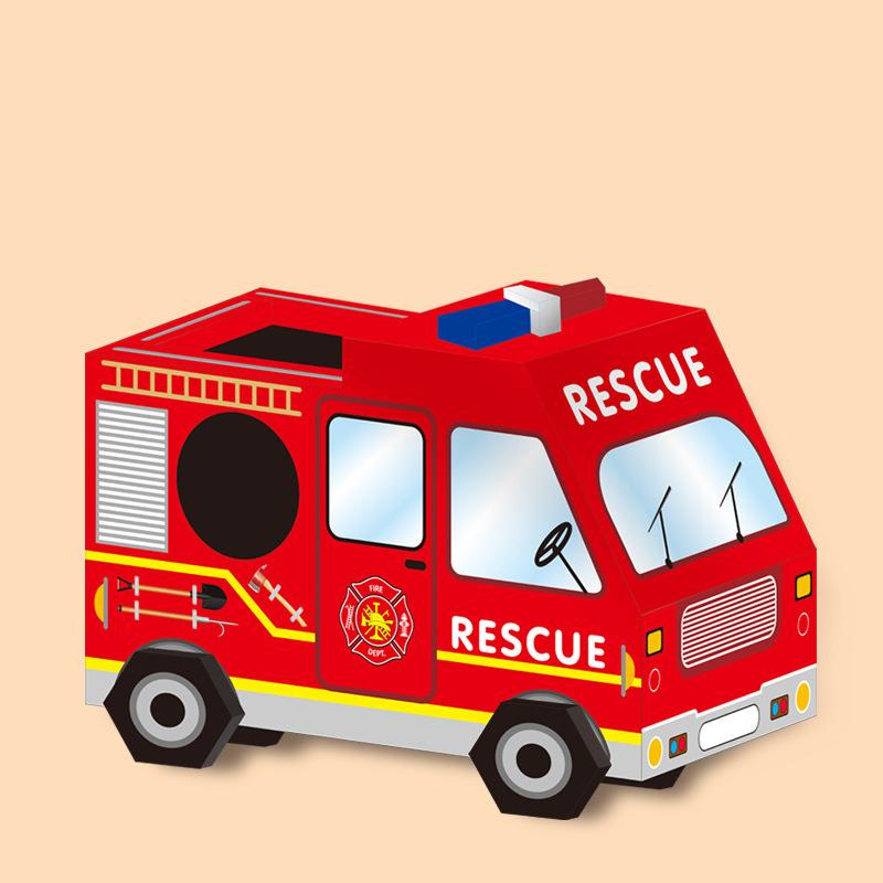 工作キット 知育工作キット 知育 工作 車 パトカー 消防車 救急車 レッド