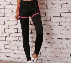 レディースレギンス付きショートパンツ L スパッツ スポーツウェア ボトムス ランニング フィットネス ヨガ ラインが可愛い ピンク