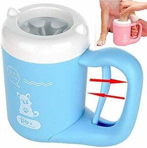 Blue S 猫犬足洗いカップ ペット 足用クリーナー 半自動式 360°回転 洗浄力抜群 抗菌シリコーン製 ペットブラ