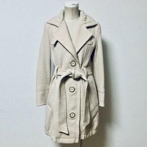 ■カリテ qualite/アバハウス■アンゴラ混!ベージュカラー織地 デザインコート レディース サイズ2