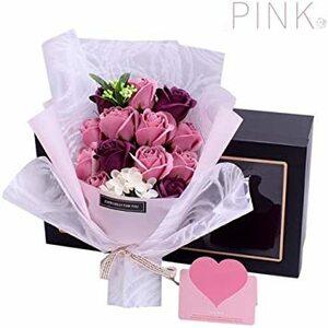 pink ソープフラワー 母の日 花 LangRay 花束 造花 プレゼント ギフト 石?花 石?フラワー 贈り物 ギフト 敬老