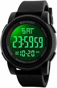 新品ブラック Timever(タイムエバー)デジタル腕時計 防水 メンズ スポーツ うで時計 多機能付き ストップウUENQ