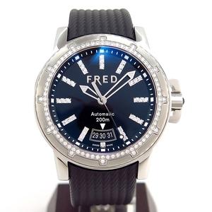 【FRED/フレッド】FD064511 グラディエーター ダイヤベゼル 1936本限定 ブラック メンズ SS 自動巻 腕時計【中古】/10001416/G781/m24255