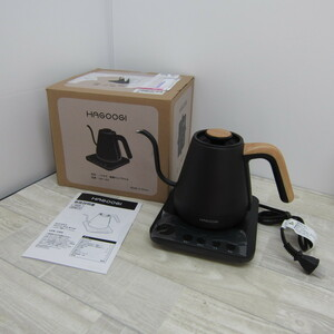 S9668【未使用】HAGOOGI 電気ケトル コーヒー 電気ポット 0.8L 1200W 温度設定(1℃単位)/保温機能/空焚き防止 細口 ステンレス ブラック