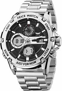 新品シルバー FEICE 腕時計 メンズ ペアウォッチ 多機能うで時計 防水 アナログ・デジタル LEDバックライトE6HE