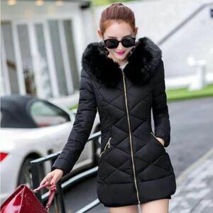 ロングダウンコート ダウンコート 防寒 高品質 ロングコート ブラック 黒 スリム 韓国 ファー ダウンジャケット