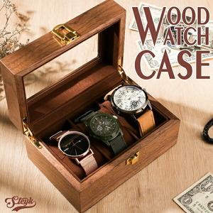 【訳あり】木製 3本用 時計ケース 腕時計収納 インテリア コレクション ボックス ウォッチケース メンズ レディース