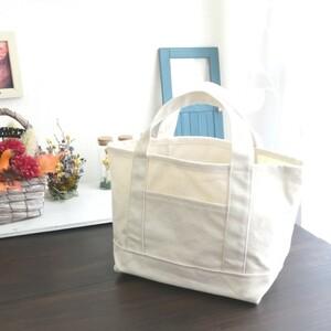 【ミニバッグ】8号帆布の手づくりミニトートバッグ 白 小さめ 硬め シンプル ハンドバッグ ハンドメイド チャコペンの跡有り