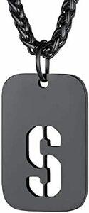 刻印不要・ブラック FindChic メンズ イニシャルS ドッグタグネックレス ペンダントトップ シンプル ブラック 黒色 6