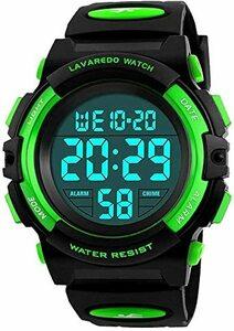 9-グリーン 子供腕時計 男の子 デジタル腕時計 ボーイズスポーツウォッチ アウトドア多機能50m防水 アラート 日付曜日表示