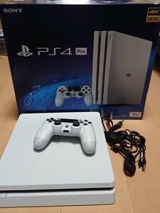 PS4 グレイシャー ホワイト 動作品 PlayStation4 PS4本体 pro箱 白 中古 品