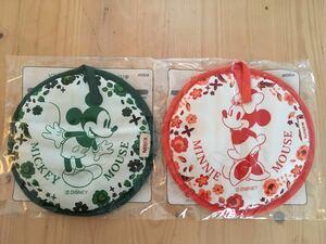 新品 ミッキーマウス ミニーマウス 鍋敷き 2枚セット ティータイム ミトン 鍋つかみ