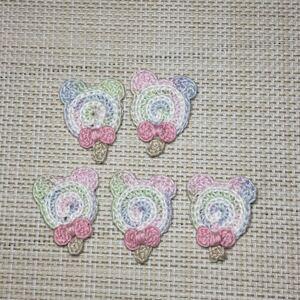 ハンドメイド くま形のぺろぺろキャンディー編みモチーフ