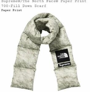 ☆超激レア☆Supreme the north face paper print 700 fill Down scarf マフラー スカーフ
