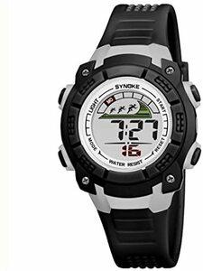 ブラック 子供腕時計防水led デジタル表示ライト付き アラーム ストップウォッチ機能 12/24時刻切替え多機能スポーツ腕時計