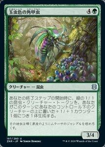 MTG ■緑/日本語版■ 《玉虫色の角甲虫/Iridescent Hornbeetle》ゼンディカーの夜明け ZNR