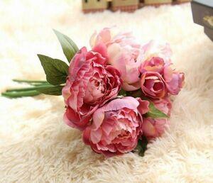 ☆アーティフィシャルフラワー ピオニー牡丹 ピンクパープル シルクフラワー 造花 花束 ブーケ☆
