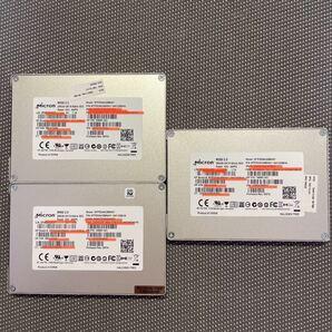 Micron SSD 2.5インチ SATA 256GB 三枚セット使用時間2447.3177.3037