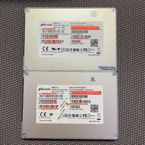 Micron SSD 2.5インチSATA 256GB 二枚セット使用時間4805.6575