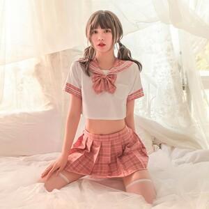 超セクシー可愛い セーラー服 学生服 コスプレ 女子高生 制服 トップス&スカート&ストッキング RT517/ピンク