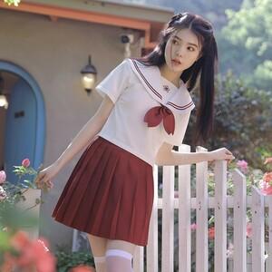 可愛い 上質 学生服 セーラー服 コスプレ 女子高生 制服 トップス&スカートRT529/ホワイト&レッド/L