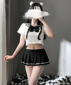 超セクシー可愛い 学生服 セーラー服 コスプレ 制服 女子高生 トップス&スカートRT526/ブラック
