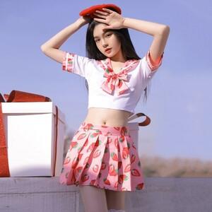 超セクシー可愛い 学生服 セーラー服 コスプレ 制服 女子高生 トップス&スカートRT527/ピンク