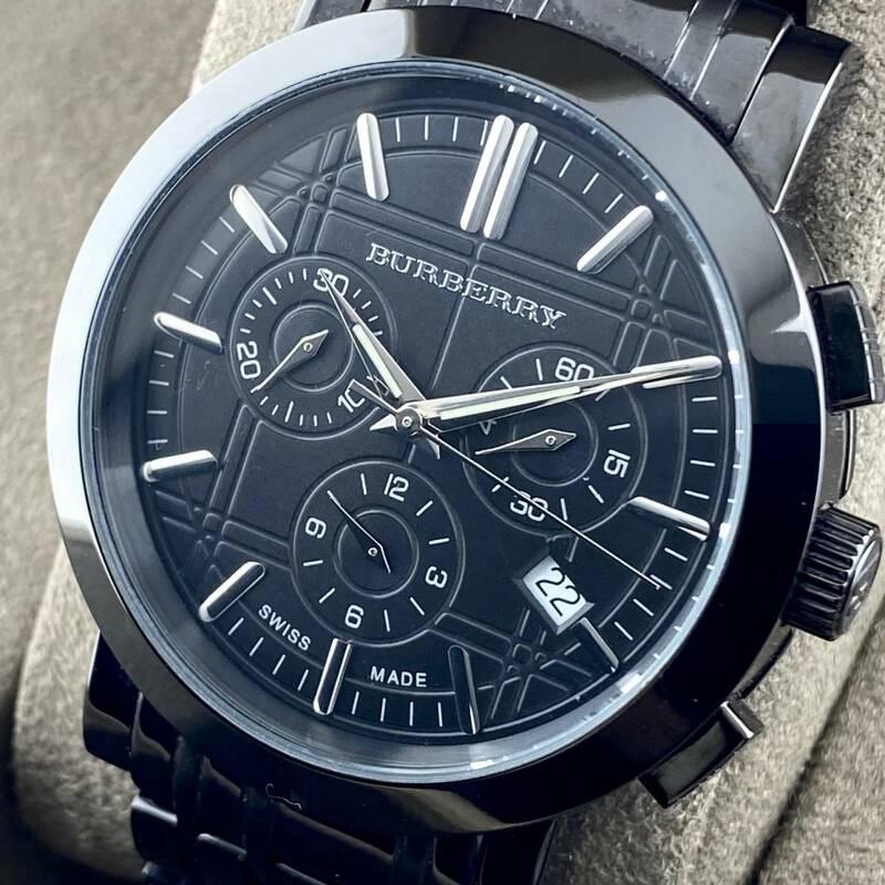 【1円箱付】BURBERRY バーバリー 腕時計 メンズ クロノグラフ BU1373 ブラック文字盤 チェック柄 デイト 可動品