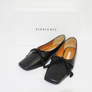 PIPPICHIC ピッピシック スクエアトゥ バレエ シューズ フラット ブラック リボン ブラック 黒 F10-50