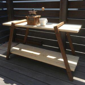 ハードウッドで作成!シェルフ テーブル アウトドア キャンプ