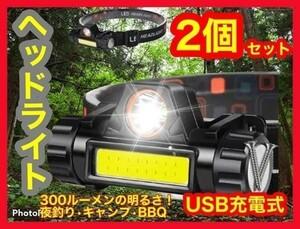 LEDヘッドライト 2個セット USB充電式 90°回転 キャンプ グランピング 登山 富士山 外