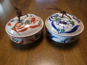 蓋付き 小鉢 陶器 容器 2個セット 花柄