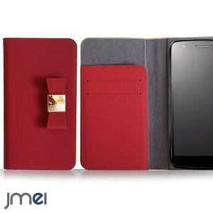 iPhone12/12プロケース アイフォン12pro 5G(レッド)リボンチャーム 本革 手帳型 携帯カバー ソフトバンク 5G ドコモ レザー 73