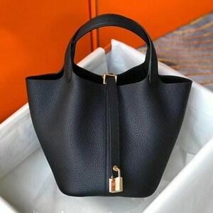 バッグ 本革 ブラック 牛革 高級 ビジネスバッグ 新作 ハンドバッグ トートバッグ バケツ かばん #C834-2