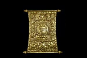 ◆鶴鳴堂◆ チベット・15-16世紀 銅金製 翦金翦銀密教法器 龍鳳紋タンカー 超絶技巧 寺寶 細密毛彫 館級至宝 廃寺買取 仏教古美術