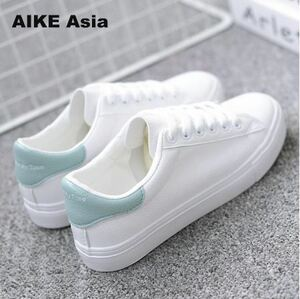 女性 Sneakers 2018 Breathble Vulcanized Shoes Pu leather Platform Lace up カジュアル