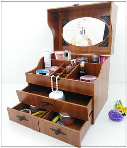 新品 韓国風 ミラー付き 【!】大容量な木製の化粧箱 PY18