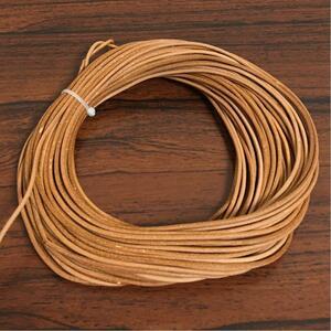 ヨーロッパ製◆牛革レザーコード20m◆ナチュラルカラー2ミリ◆革ひも丸紐