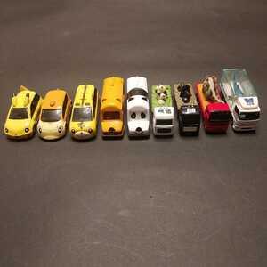 トミカ ミニカー 乗用車 キャラクターカー ポケモン ピカチュウ しまじろう どうぶつバス 運搬車 9台セット 中古品 ジャンク品