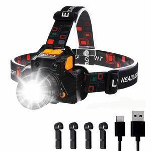 LEDヘッドライト 充電式 高輝度 LEDヘッドランプ ヘッドランプ 小型軽量 防水 USB充電